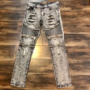 Other - Crysp Denim Distressed Bikers Skinny Stretch Jeans